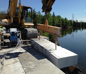 Wiresawing concrete bridge deck in Thunder Bay