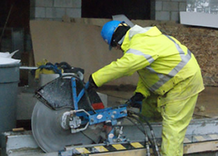 Concrete cutting with track saw at Thunder Bay Courthouse