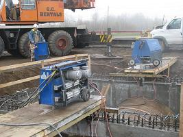 Wire Sawing a 9 foot diameter concrete pipe